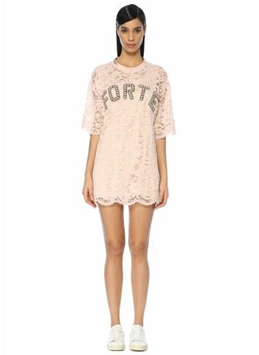 Forte Couture Dantelli Mini Elbise Pembe